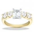 Angelina Yellow Gold Emerald Diamond Ring