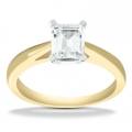 Autumn Yellow Gold Emerald Solitaire Ring